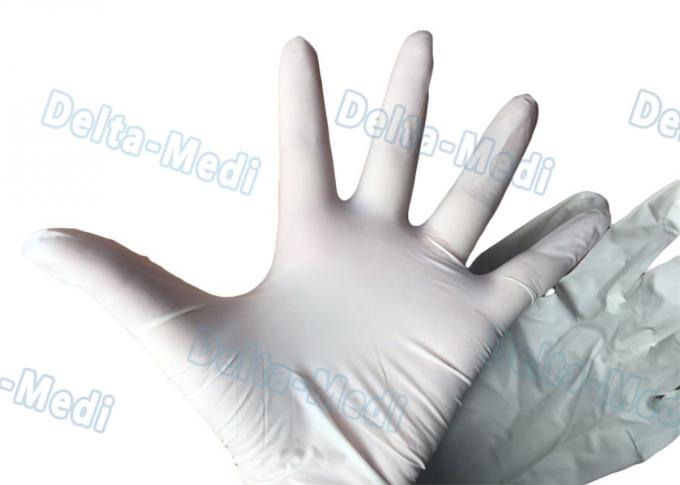 Sterile Latex Disposable Surgical Gloves Powder Free White Color For Hospital