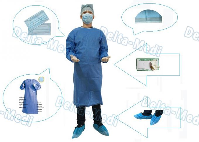 SMS Disposable Surgical Gown With Knitted Cuff Environmentally Friendly