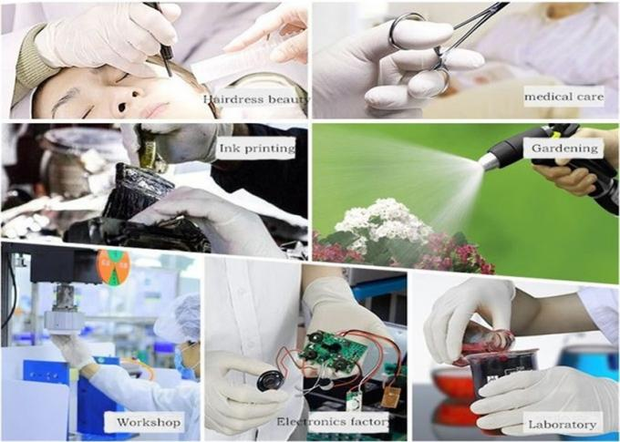 Durable Disposable Surgical Gloves , White Color Latex Examination Gloves