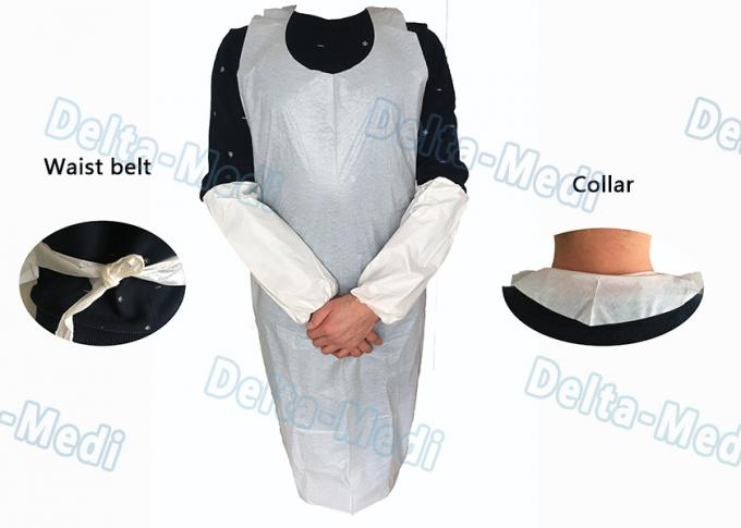 Operating Rooms White Disposable Aprons , Dust Proof Plastic Throw Away Aprons