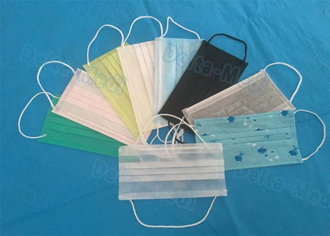 Comfortable Hospital Disposable Face Mask Earloop Type 3 Layers Fluid Resistance