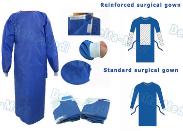 China SMS Disposable Surgical Gown With Knitted Cuff Environmentally Friendly supplier