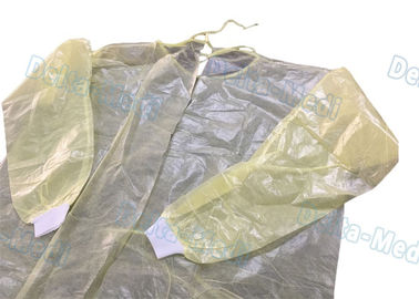 China Ultrasonic Sewing Yellow Isolation Gowns , Isolation Waterproof Disposable Lab Gown supplier