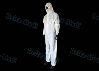 China White SF Disposable Hooded Coveralls , Anti Water Disposable Safety Coveralls supplier