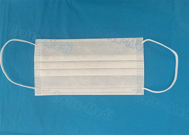 White Breathable Sterile Disposable Face Mask Fluid Resistant For Safe Protection