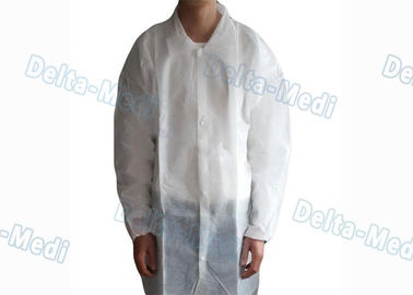 White Non Woven Disposable Visitor Coats Dust / Bacteria Isolation Eco - Friendly