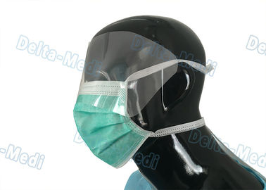 China Non Woven Tie On Protective Disposable Mouth Mask Fluid Resistant With Eye Shield supplier