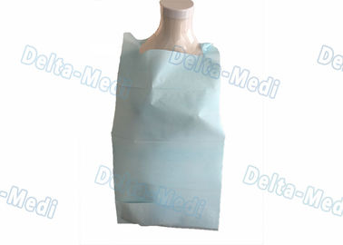 Light Blue Waterproof Disposable Patient Bibs , Adults Custom Disposable Bibs With Pocket