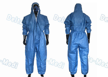 China Dark Blue SF Microporous Disposable Protective Coveralls Hooded With Elastic Cuff supplier