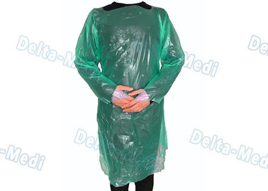 China Green CPE Disposable Plastic Gowns , Anti Liquid Long Sleeve Hospital Gowns supplier