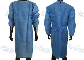 China Soft Disposable Protective Gowns , SMS Disposable Medical Gowns With 2 Waist Tie On / Neck Tie On supplier