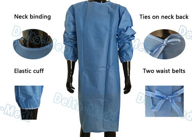 Soft Disposable Protective Gowns , SMS Disposable Medical Gowns With 2 Waist Tie On / Neck Tie On
