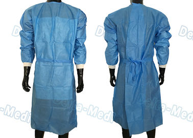 China SBPP Non Woven Disposable Surgical Gown Simple 40 - 60gsm With Front Waist Belt supplier