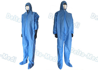China Safe Disposable Coverall Suit , SMS Disposable Blue Coveralls With Hood / Boots Integral supplier