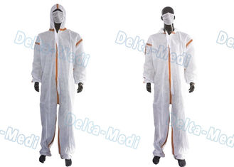 China SMS White Disposable Coveralls , Chemical Protective Suit With Hood Tape Seam supplier