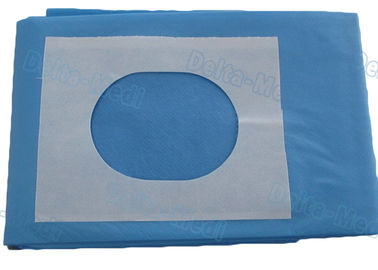 Sterile Blue SMS Disposable Surgical Drapes Utility Drape With Slotted Hole / Adhesive Tape