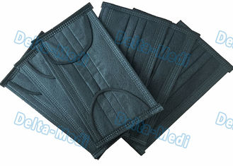 Black 4- Ply Ear Loop Disposable Non Woven Face Mask With Active Carbon