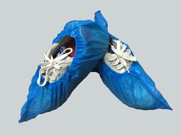China Blue Medical Plastic Products Disposable Shoe Cover PE Waterproof 15 Cm Antiskid supplier
