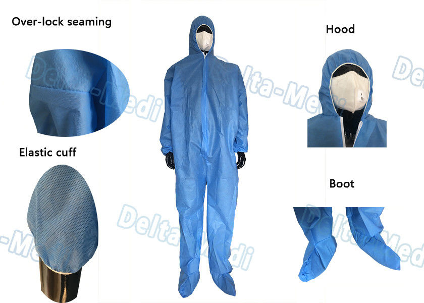 Hooded Blue Disposable Coveralls , Sterile Sms Disposable Chemical Coveralls