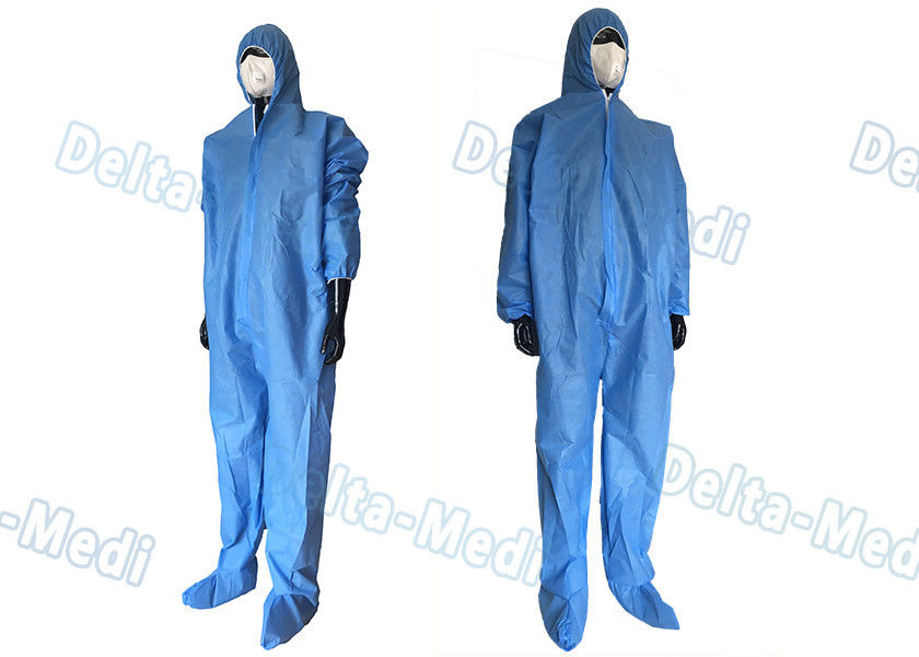 Safe Disposable Coverall Suit , SMS Disposable Blue Coveralls With Hood / Boots Integral