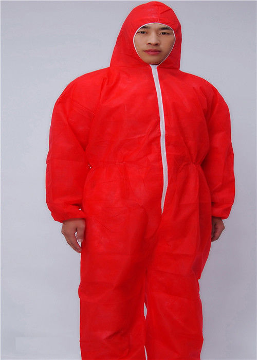 Zip Front SMS Disposable Protective Apparel With Hood Boots