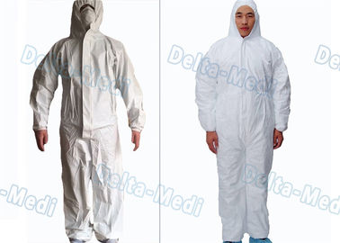 Waterproof Breathable Disposable Protective Coveralls Cotton Knitted / Elastic Cuff White Color