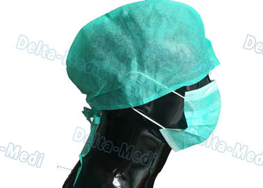 Green Medical Disposable Surgical Caps Non Woven Tie On Back Type For Hospital