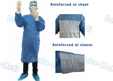 35 - 50gsm Disposable Surgical Gown Reinforced Waterproof Latex Free
