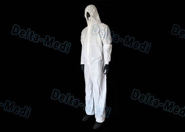 White SF Disposable Hooded Coveralls , Anti Water Disposable Safety Coveralls