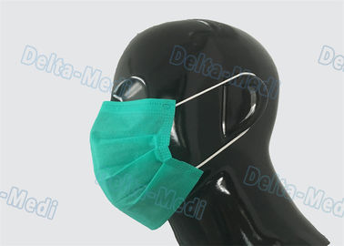 Green Sterile Medical Disposable Face Mask Non Woven Eco Friendly 17.5x9.5cm