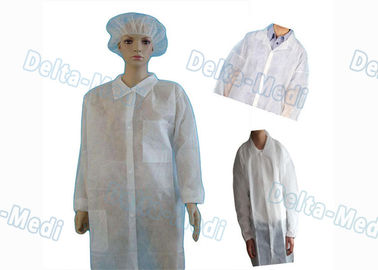 China White Non Woven Disposable Visitor Coats Dust / Bacteria Isolation Eco - Friendly factory
