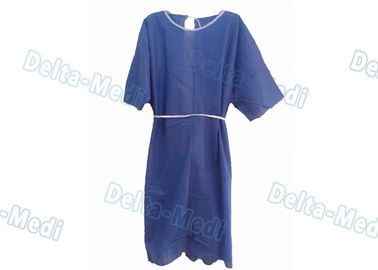 Comfortable Short Sleeve Disposable Patient Gowns , Blue Isolation Gowns CE Certification