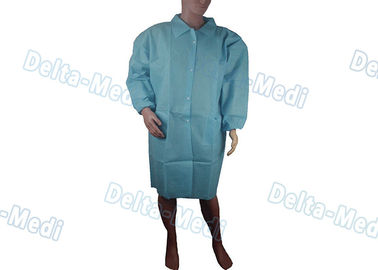 China Non Woven Disposable Protective Apparel SMS Visitor Gown With Knit Collar / Turn Down Collar factory