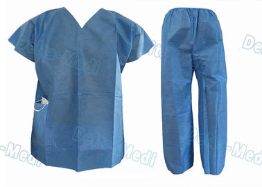 China Short Sleeve Disposable Protective Apparel Over Lock Sewing Scrub Suit With Pocket factory