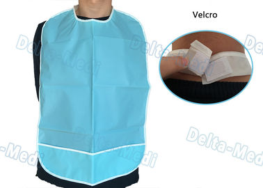 China CPE Waterproof Disposable Dental Bibs with Velcro Blue Color 45 X 48cm factory