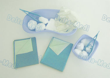 Wound Care Disposable Surgical Kits , Sterile Dressing Packs With Medical Plastic Kidney Bowls