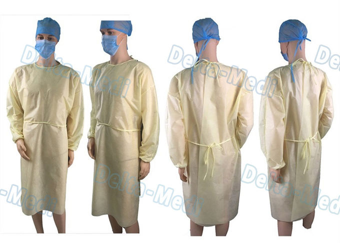PP Light Yellow Disposable Isolation Gowns Protective Surgery Clothing