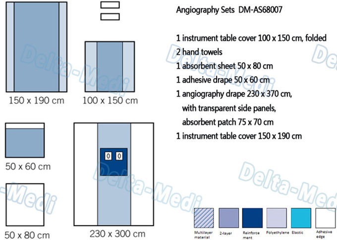 Disposable Sterile Angiography Drape Packs , Surgical Angio Pack with Soft and Absorption sheet