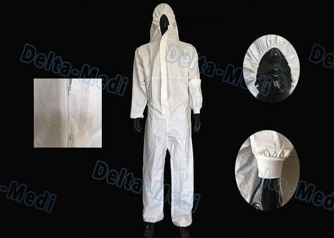 White Microporous Disposable Protective Coveralls Anti Dust With Hood