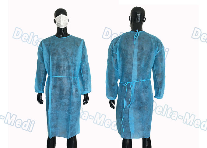 Blue PP Long Sleeve Hospital Disposable Isolation Gowns Anti Dust For Lab / Industry