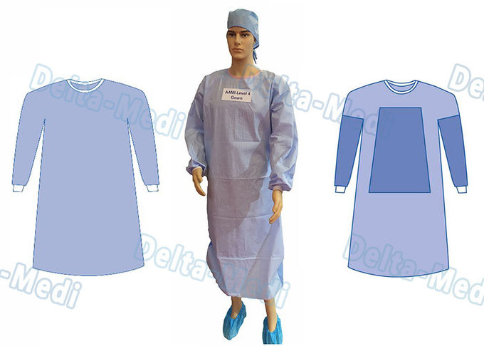 Tie On Disposable Sterile Gowns , Disposable Operating Gowns Wood Pulp Spunlace Fabric