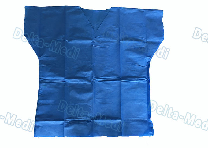 Dark Blue Disposable Protective Apparel , Disposable Scrub Suits With Shirt / Pants