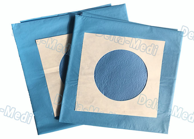 Blue Surgery Sterile Disposable Drapes With Circle Hole / Adhesive Tape