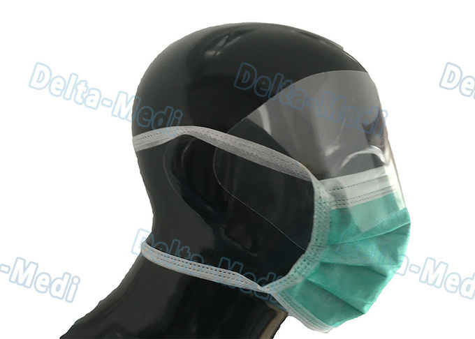 Labortary Anti Fog Face Mask With Eye Shield , Tie On Adult Face Mask Green / White Color