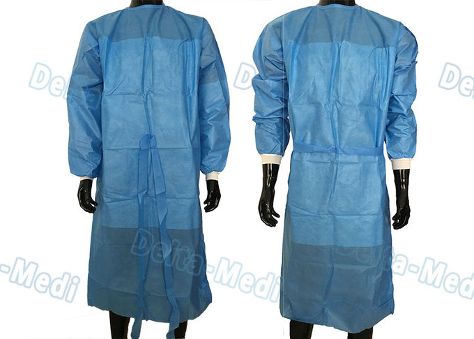 SBPP Non Woven Disposable Surgical Gown Simple 40 - 60gsm With Front Waist Belt
