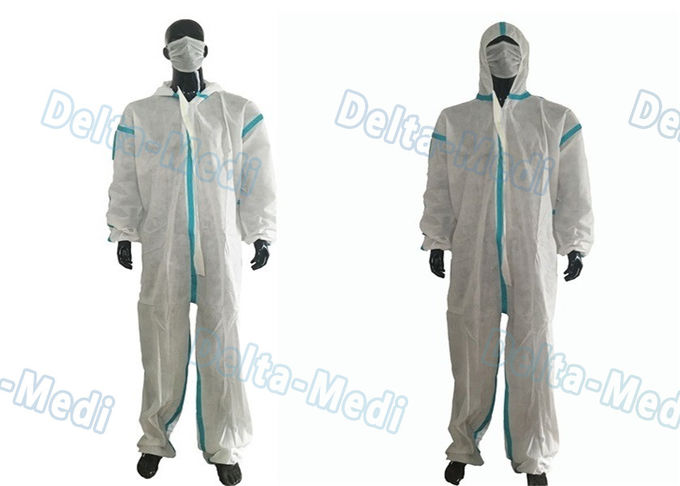 SMS White Disposable Coveralls , Chemical Protective Suit With Hood Tape Seam