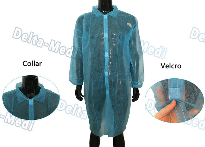 Blue Disposable Isolation Gowns Non Toxic Blood Resistance With 5 Velcro In Front