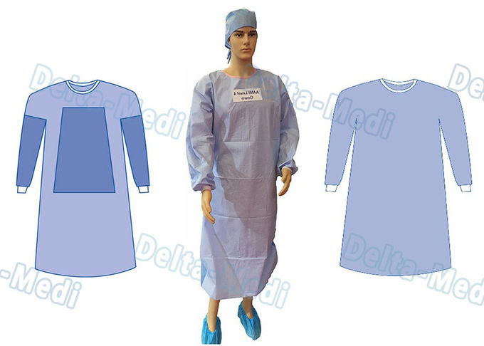 Wood Pulp Spunlace Sterile Disposable Surgical Gown With Knitted Cuff